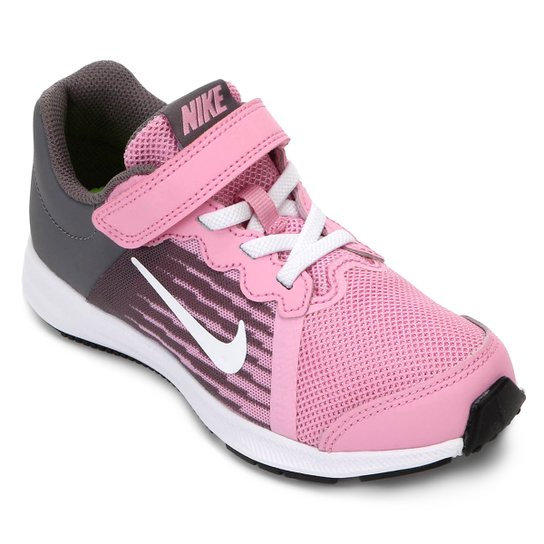 Tênis Infantil Nike Downshifter 8 Feminino - Rosa e Branco - Compre ... b8230ee103eaa