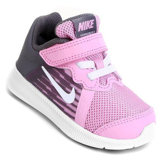 e1044012a60 Tênis Infantil Nike Downshifter 8 Gtv Com Velcro Feminino - Rosa+Branco