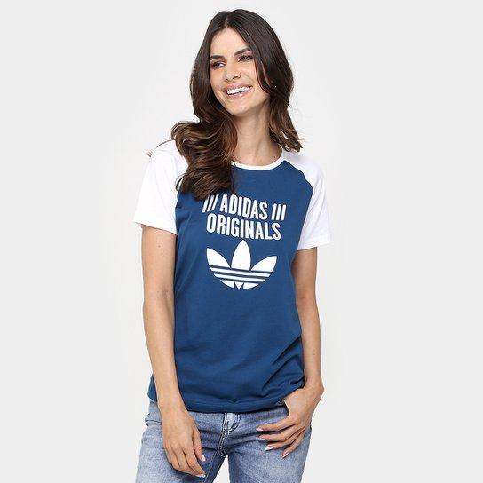 3929a56981b Camiseta Adidas Tshirt Raglan - Azul Petróleo+Branco