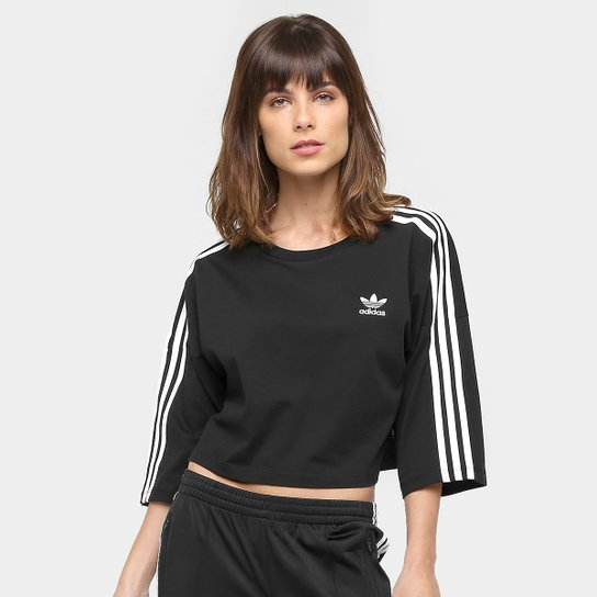 5d9a91fa491 Camiseta 3 4 Adidas Originals Boxy 3 Stripes - Compre Agora