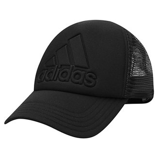Boné Adidas Aba Curva Trucker Logo Masculino 9702addb74cee