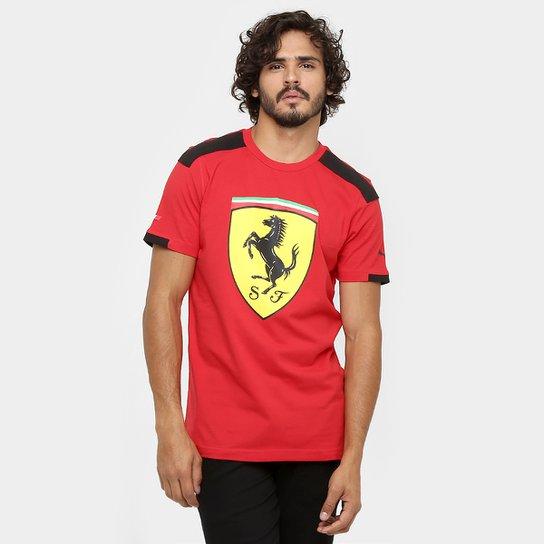 Camiseta Puma Scuderia Ferrari Big Shield - Vermelho+Preto 56357db752e