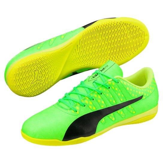 9fb0359cc5 Chuteira Futsal Puma Evopower Vigor 4 IT - Verde Limão e Preto ...