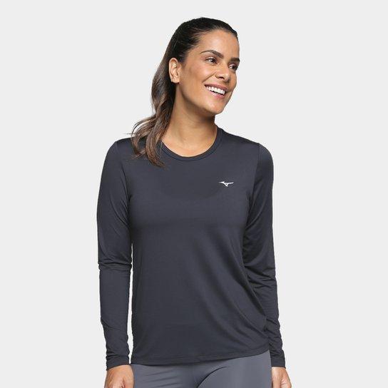 3789e148b Camiseta Mizuno Run Tech Com Proteção UV Manga Longa Feminina - Preto