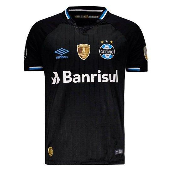 Camisa Umbro Grêmio III 2018 Libertadores Masculina - Preto fa40ffccfc039