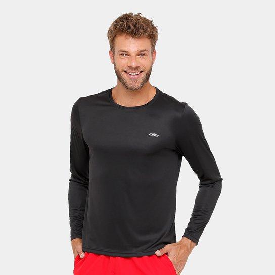 Camiseta Olympikus Essential Proteção UV 50+ Manga Longa Masculina - Preto 1ff7eebb1ff00
