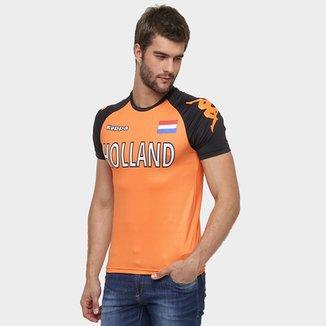 Camiseta Holanda Kappa Kombat Masculina 29b88ef2b2693