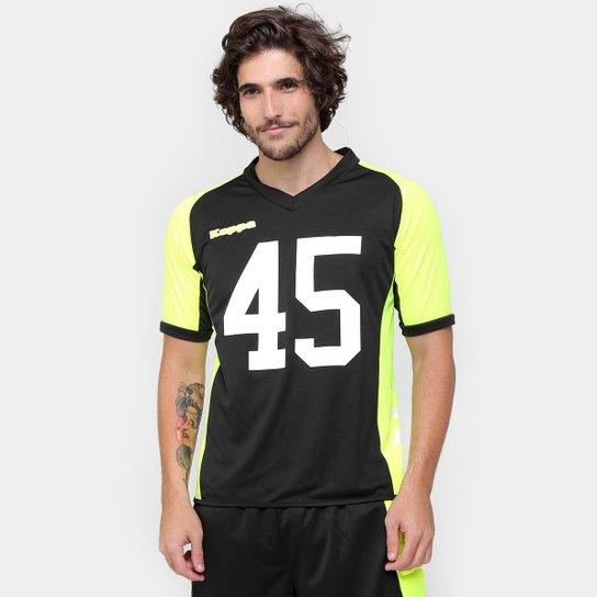 Camiseta Kappa Rugby Jersey Parisse - Preto e Verde Limão - Compre ... a25da7e27a6fa