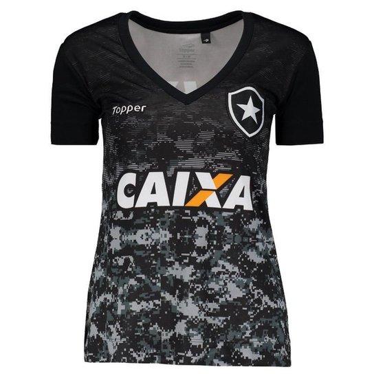 43b3bddf72 Camisa Topper Botafogo Aquecimento 2017 Feminina - Preto - Compre ...
