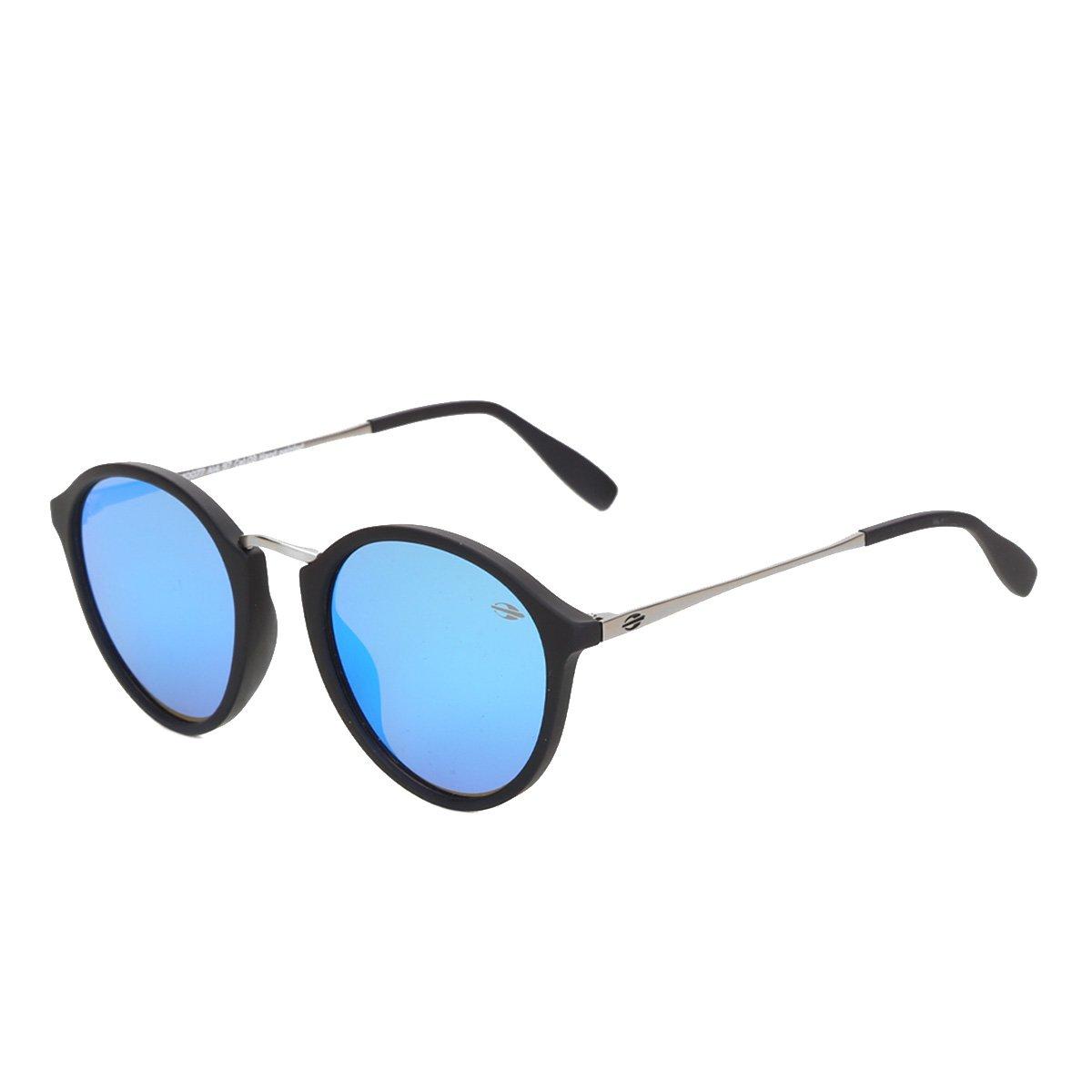 Óculos De Sol Mormaii Cali Preto Fosco Lente Revo Azul