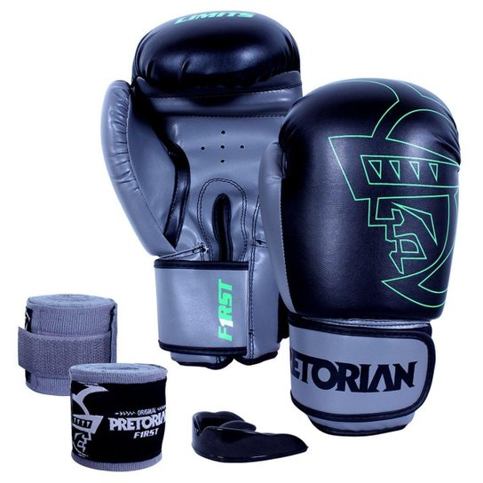 34472ec2e Kit Luva de Boxe  Muay Thai Pretorian First 12 Oz + Bandagem Elástica +  Bucal