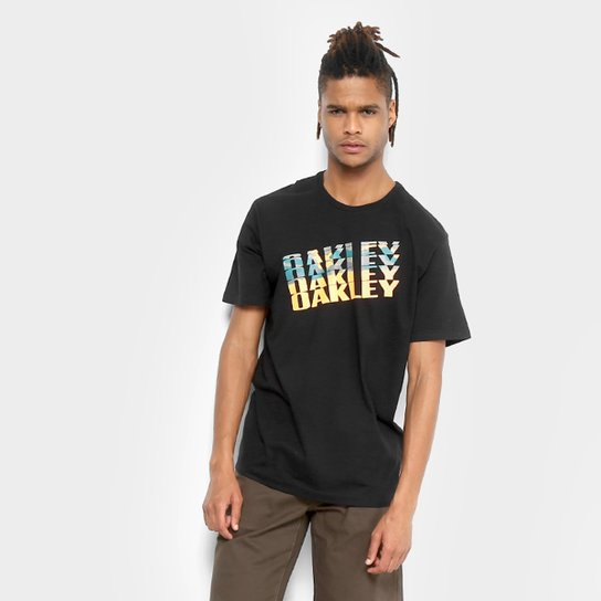 Camiseta Oakley Bark Camo Tee Masculina - Preto - Compre Agora ... 8074e98b7b0