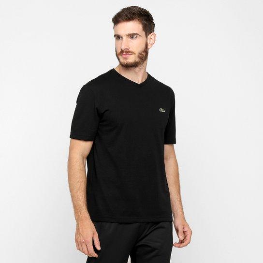 9969849ba7f Camiseta Lacoste Gola V Masculina - Preto - Compre Agora