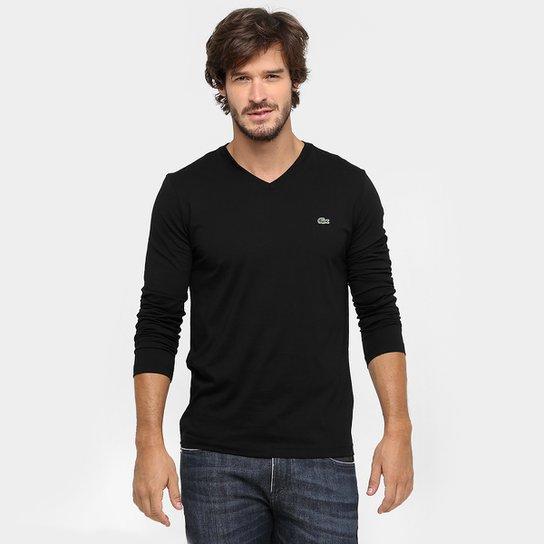 0b2826dc9268e Camiseta Lacoste Regular Fit Básica Gola V Manga Longa - Compre ...