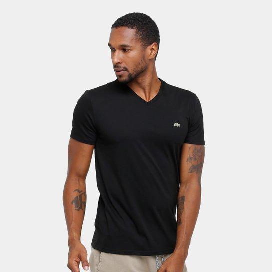 544b50787d6ca Camiseta Lacoste Gola V Regular Fit Masculina - Preto - Compre Agora ...