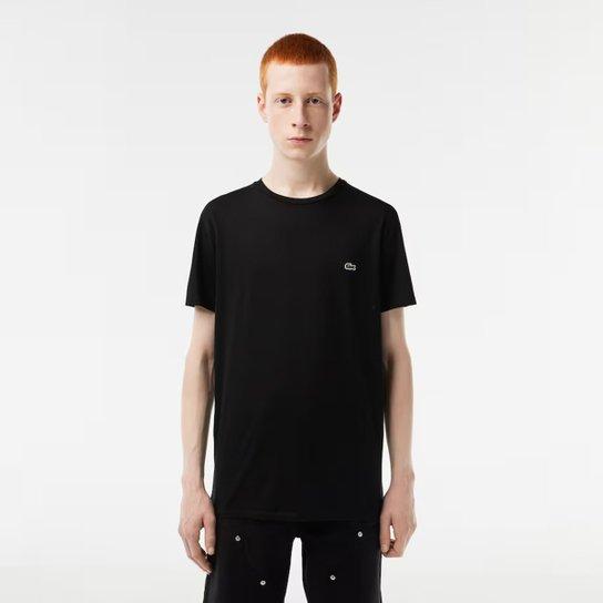09cb0b64bfcac Camiseta Lacoste Básica Jersey Masculina - Preto - Compre Agora ...