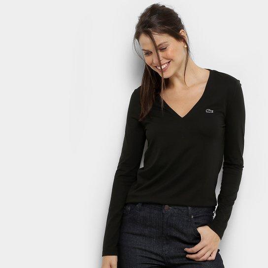 692bd7b8d Camiseta Lacoste Manga Longa Decote V Feminina - Preto | Netshoes