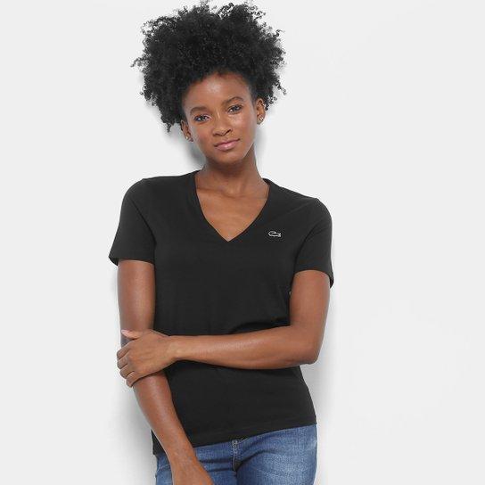 ff4f3dd691991 Camiseta Lacoste Decote V Feminina - Preto - Compre Agora