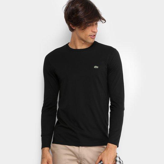 0087105a75e5f Camiseta Lacoste Básica Manga Longa Masculina - Compre Agora
