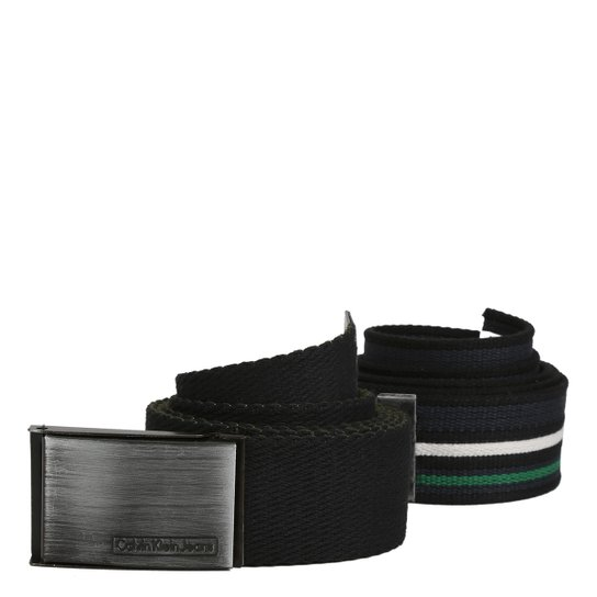 Kit Cinto Calvin Klein Lona Listrado Liso Masculino - Compre Agora ... 76e5e64767a