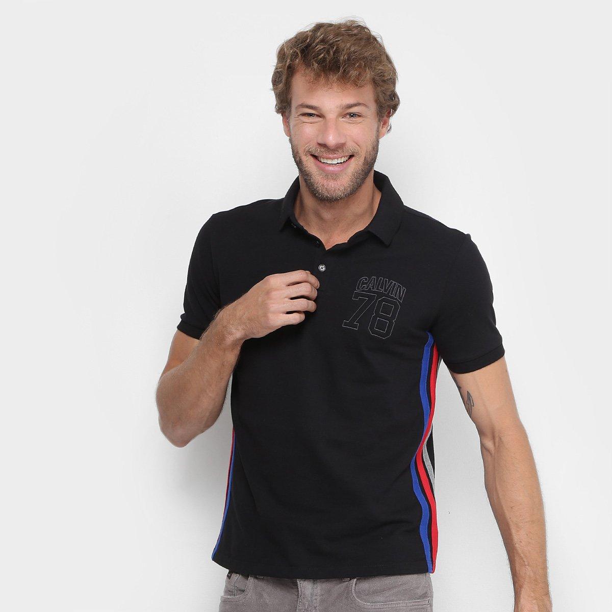 d5e7a2befc Camisa Polo Calvin Klein Piquet Listra Lateral Masculina - Shopping ...