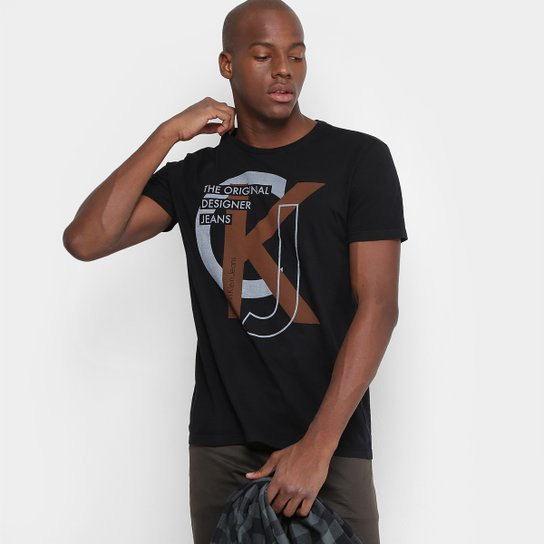 afb06e2eb Camiseta Calvin Klein Slim The Original Designer Jeans Masculina - Preto
