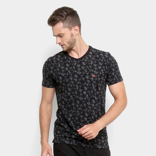 c19e9a9032 Camiseta Estampada Floral Calvin Klein Manga Curta Masculina - Preto