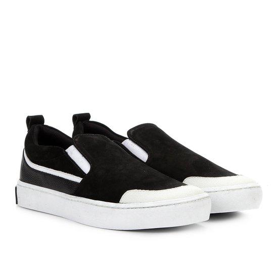 Slip On Couro Calvin Klein Recortes Masculino - Preto - Compre Agora ... efe9e379b36