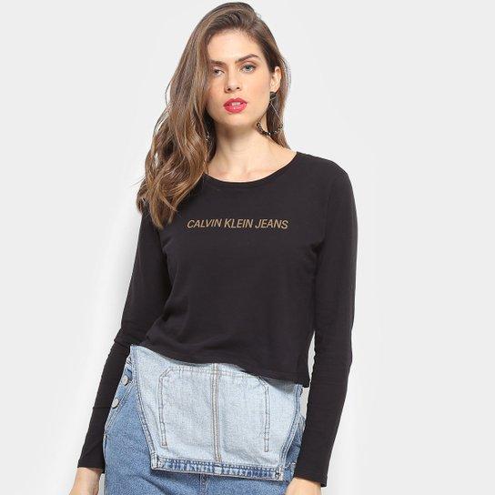 d0f056679f77ae Camiseta Calvin Klein Manga Longa Cropped Feminina - Preto