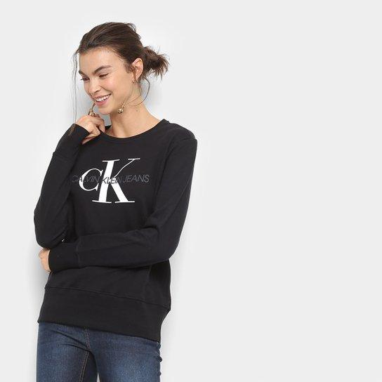 fc1b47d5ce3e25 Moletom Calvin Klein Logo Feminino - Preto