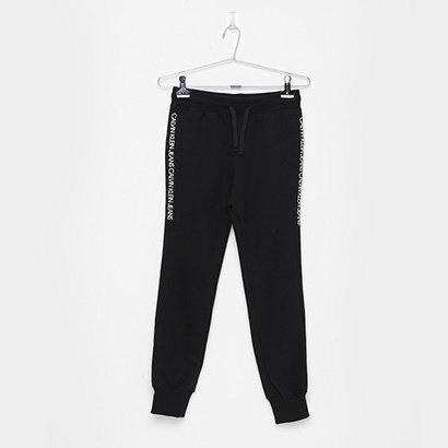 Calça Moletom Jogger Infantil Calvin Klein Faixa Lateral Logo Masculina