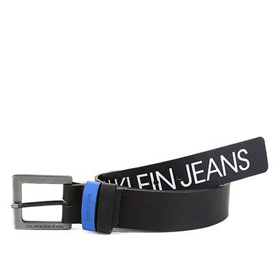 Cinto Couro Calvin Klein Silk Logo Masculino