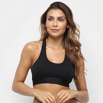 Sutiãs Calvin Klein Feminino Sutiã Top Racerback Black Cotton -ELM0040