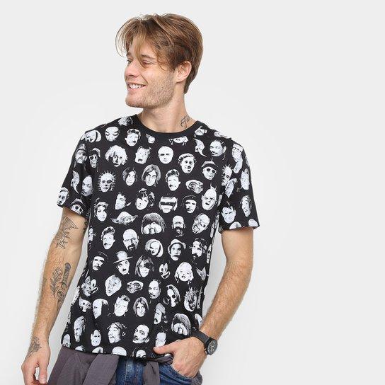 bb517a2ef0 Camiseta Cavalera Back To The Roots Faces Masculina - Preto