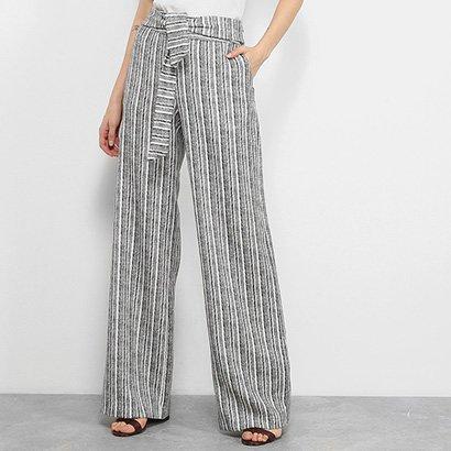 Calça Pantalona Carmim Estampada Faixa Cintura Feminina
