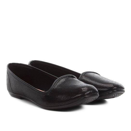 3d9a8b1b8 Sapatilha Moleca Slipper Textura Cobra Feminina - Preto | Netshoes