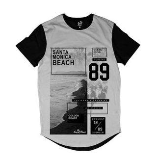 Camiseta Longline Long Beach Litoral Dourado Sublimada Masculina 9dda1ae136d