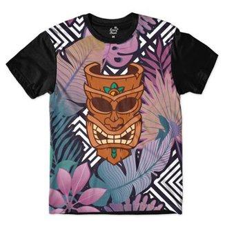 c57deedfd0fb4 Camiseta Long Beach Totem Floral Curandeiro Sublimada Colors