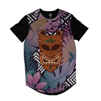Camiseta Longline Long Beach Totem Floral Curandeiro Sublimada Colors dbd906c19cf