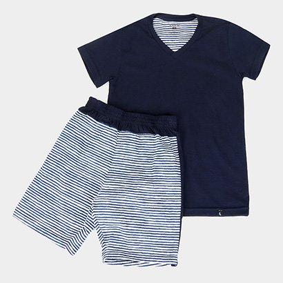 Pijama Infantil Lupo KM Curto Listras Masculino