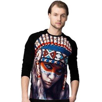 Camiseta Manga Longa Stompy Indian Masculina cd18a1251d3