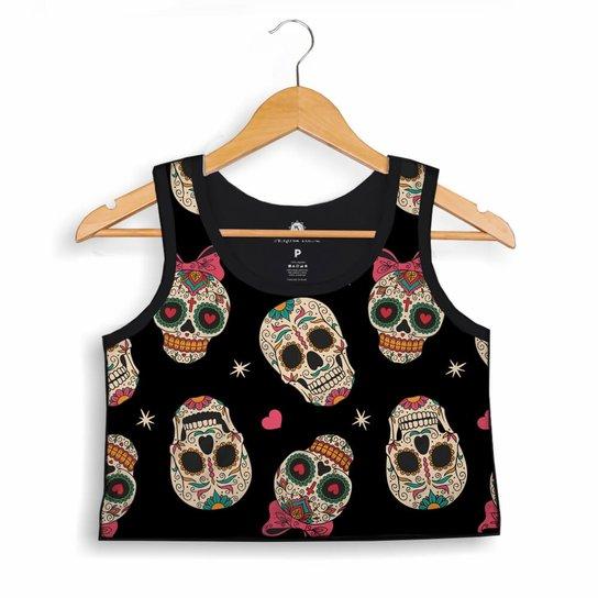 6953b6e63063e Cropped Morena Deluxe Regata Love Skull Full Print - Compre Agora ...