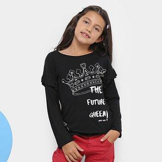 Blusa Infantil Quimby Future Queen Manga Longa Feminina c11e249abf4