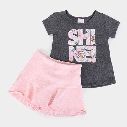 Conjunto Infantil Quimby Blusa Cotton Short Saia Jacquard Feminino