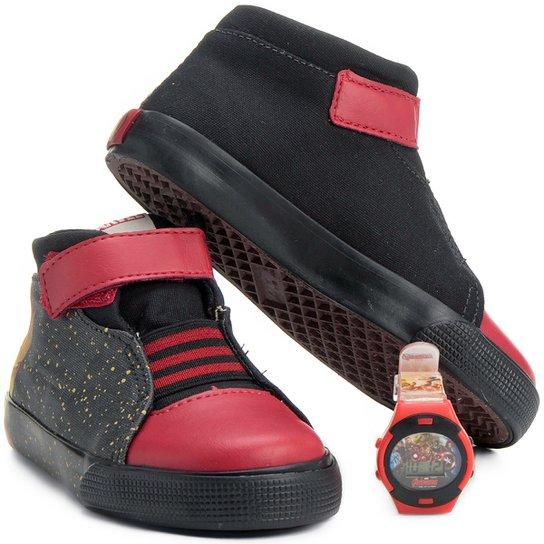 Tênis Diversão Homem De Ferro Skate Infantil + Brinde Relógio - Preto+ Vermelho 2fca8d5284897