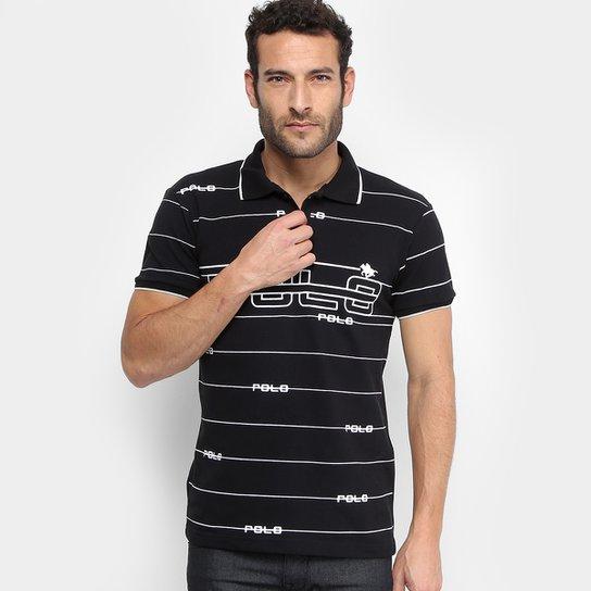 16048e19e7 Camisa Polo em Piquet Estampada Polo RG 518 Manga Curta Masculina - Preto