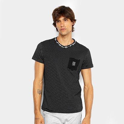 Camiseta RG 518 Malha Bolso Listrada Masculina