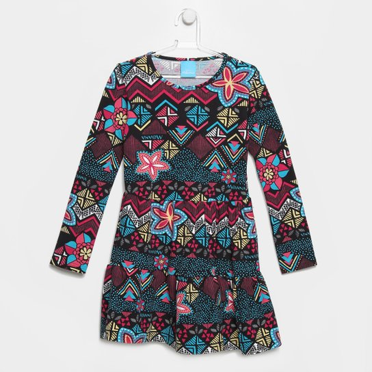 Vestido Malwee Moana Manga Longa Infantil - Preto+Azul Turquesa 212cefa258143