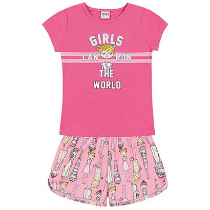 Conjunto Infantil Fakini Girls Can Run The World Feminino