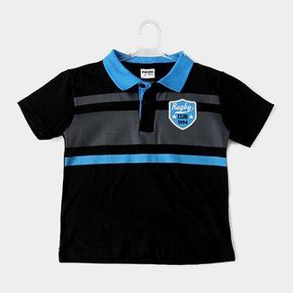 4ef822fef Camisa Polo Infantil Fakini Kids Logo Bordado Masculino